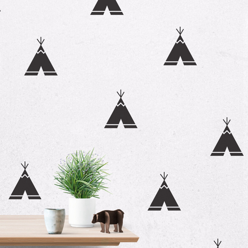 Cartoon Teepee Wall Decals, Removable Teepee Wall Stickers Kids Room Decor Free Shipping 40 pcs per lot ...