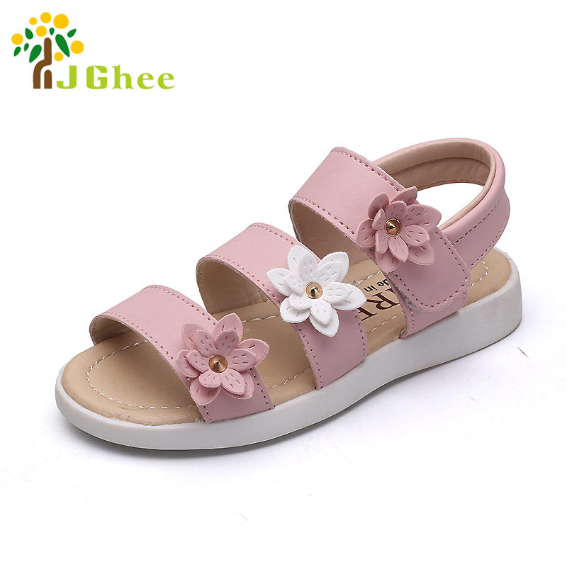 J Ghee Children's Princess Shoes For Girls Kids Sandals For Girls 2-10 Years Soft PU Leather Girls Shoes 3 Colors With Flowers