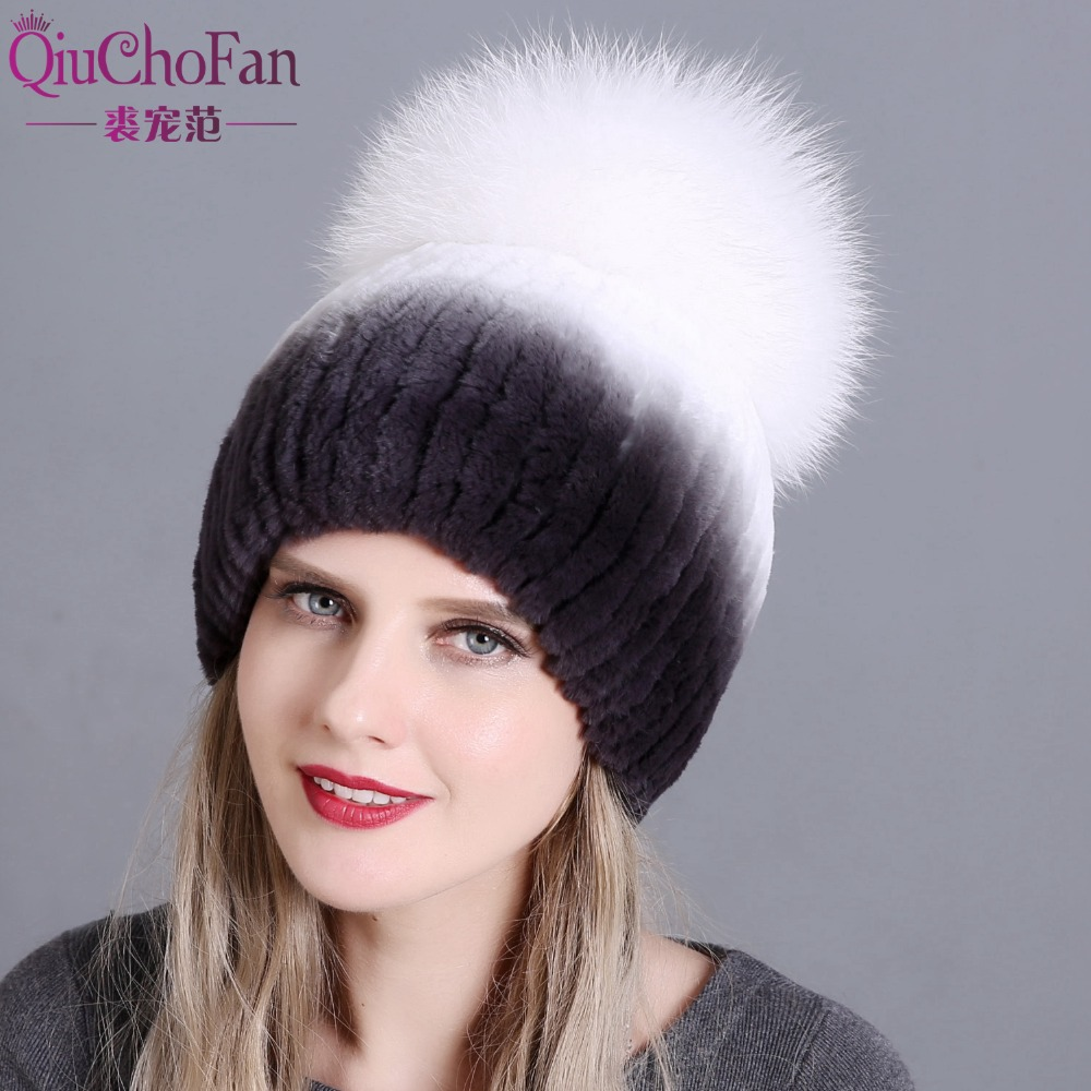 Fur Hat For Female With Luxury Fluffy Ball Russian Hats New Cold Winter Genuine Rabbit Fur New Striped Benies Hats Free Shipping