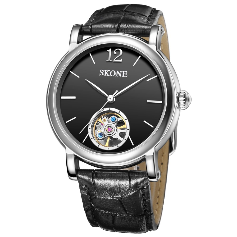 SKONE Genuine Leather Dress Watch Men Top Brand Luxury Skeleton Mens Automatic Watch Mechanical Watches Clock Relogio Masculino giorgio armani eyes to kill proliner подводка для глаз 1 obsidian black