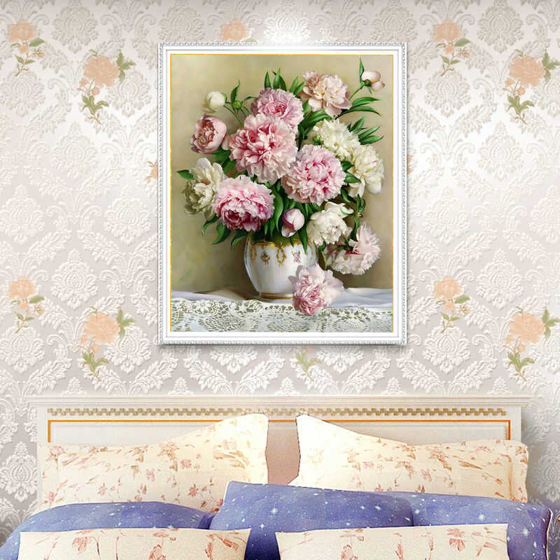 Needlework,DIY Cross stitch,Sets For Full Embroidery kits,Table vase lily peony floral flower Print counted Pattern Cross-Stitch