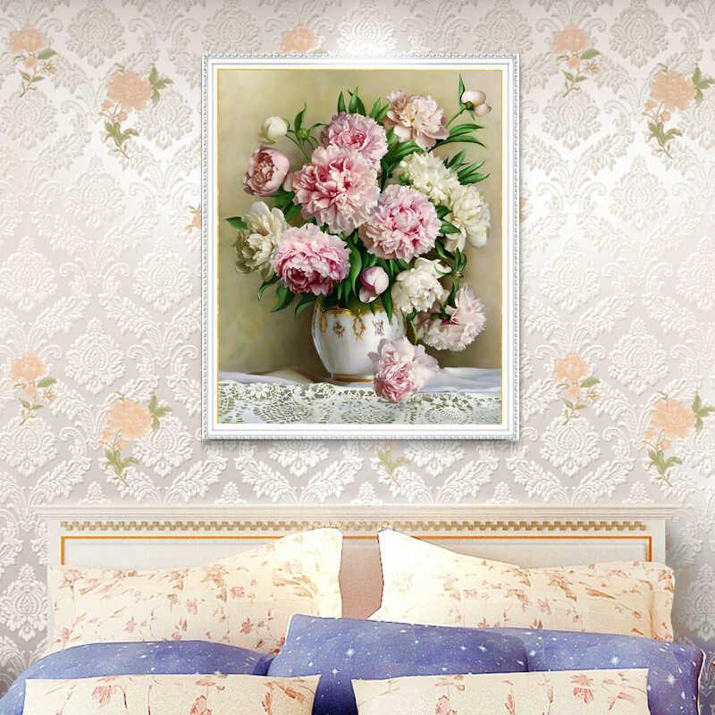 Needlework, FAI DA TE punto Croce, Set Per La Piena kit di Ricamo, tavolo vaso giglio peonia fiore floreale Stampa contati Modello Punto croce