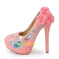 Розовый жемчуг Обувь на высоком каблуке принцессы обувь с украшением в виде кристаллов Свадебная церемония производительность банкет studio