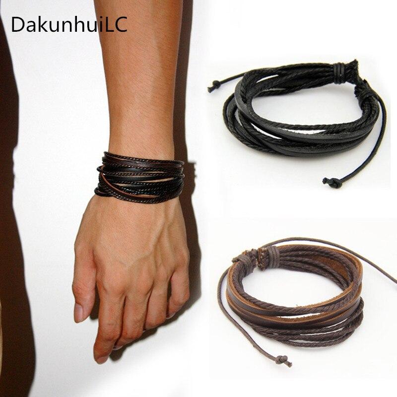 2019 Neue Heiße 100% Hand-woven Mode Schmuck Leder Geflochtenen Seil Armband Wrap Multilayer Männer Armbänder & Armreifen Für Frauen