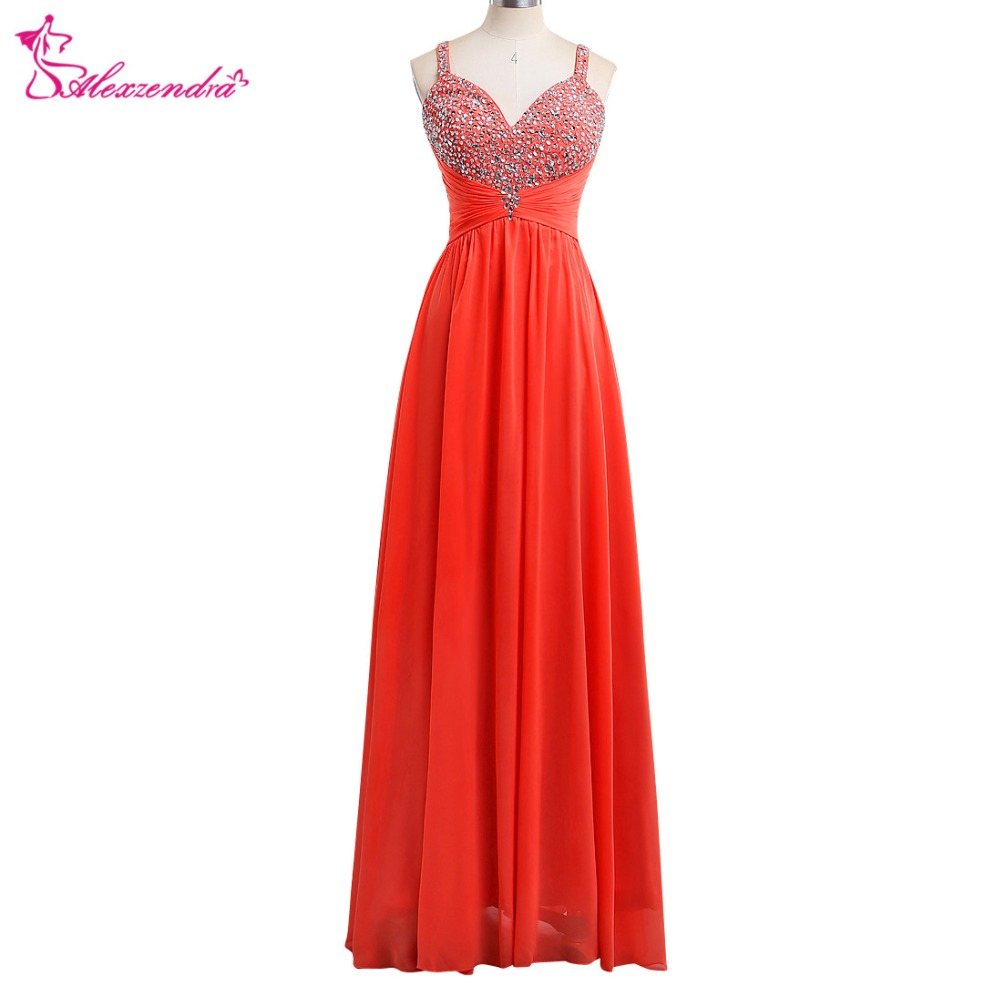Alexzendra Orange Chiffon A Line Long Beaded Sweetheart   Prom     Dresses   Crystals Bridesmaid   Dress   Evening Gowns Party   Dress