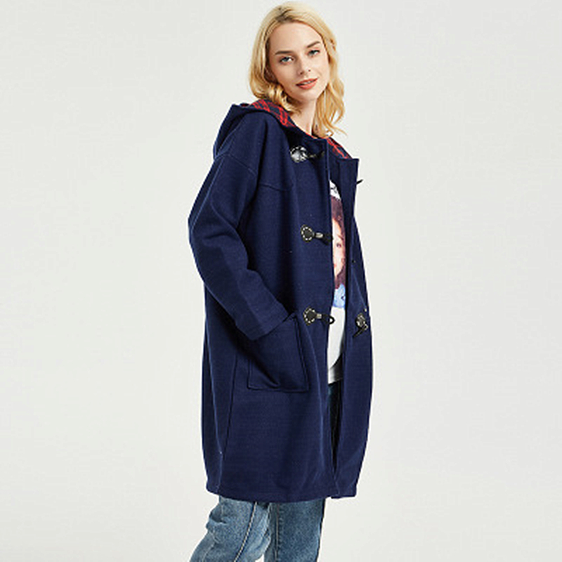 Winter Fat MM Big Yard College Wind Woolen Coat Plus Fertilizer to Increase Casual Shirt Solid Color Fashion Ladies Jacket