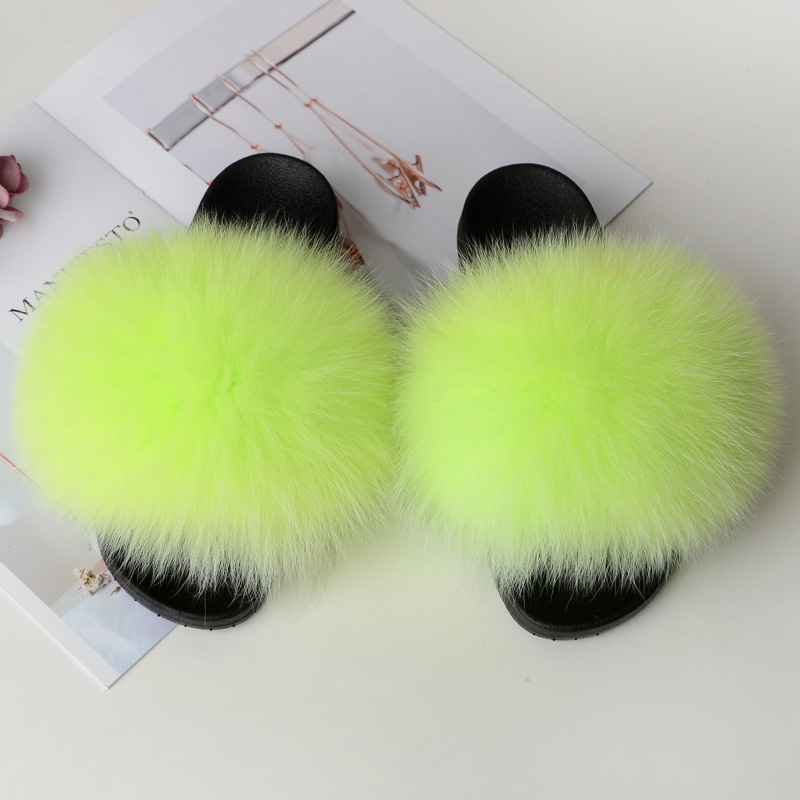 Home Slippers Women Fox Fur Slides Furry Female Indoor Slippers Furry Summer Shoes Woman Sandals Flat Brand Luxury Plus Size Eva