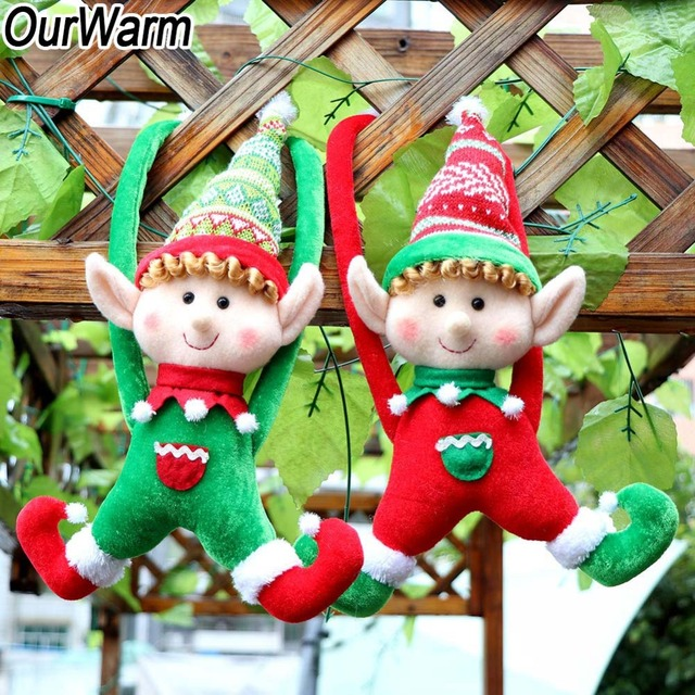 ourwarm 2pcs christmas elves 40x24cm diy decorations for home christmas tree plush elves new year supplies