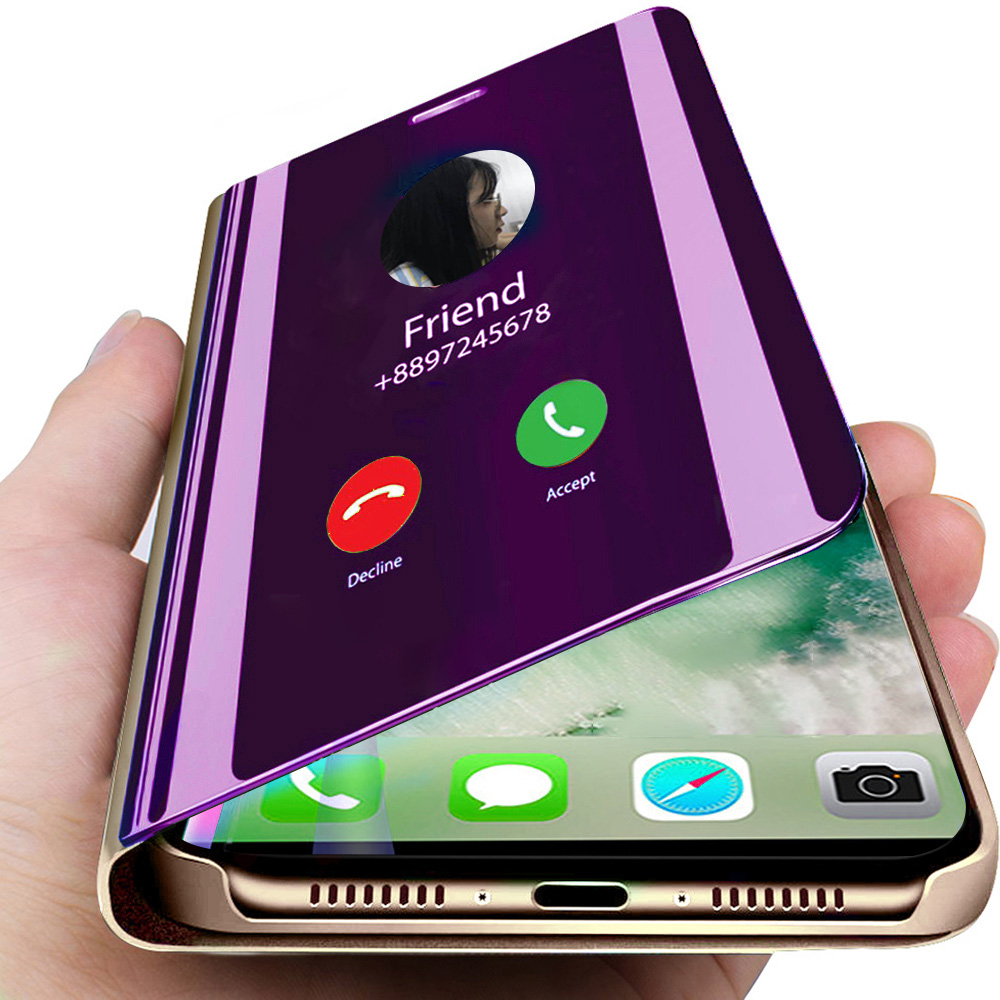Smart Mirror Flip Phone <font><b>Case</b></font> for <font><b>Huawei</b></font> Y5 Y6 <font><b>Y7</b></font> Y9 Prime <font><b>2019</b></font> P Smart Plus Z Honor 10 20 20i Lite Clear View for Nova 4 5 Pro image