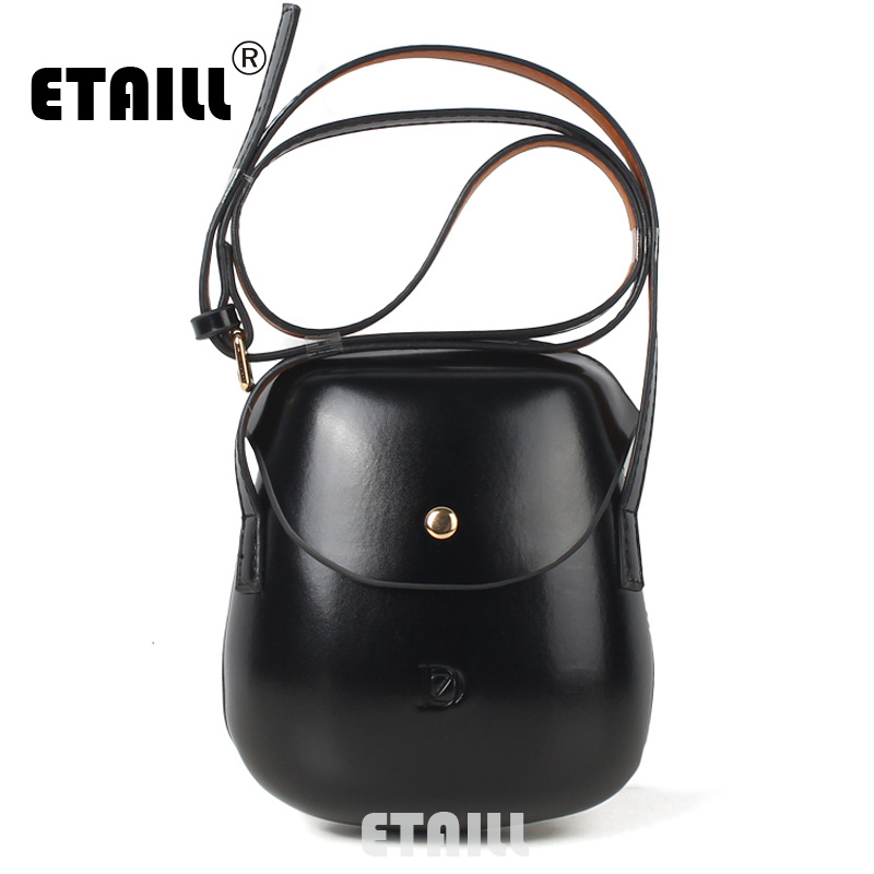 ETAILL Simple Women Shoulder Messenger Bag Kawaii Mini Bag Small Clutch Phone Bag Girls Shell Shape Shining Pu Leather Handbags women floral leather shoulder bag new 2017 girls clutch shoulder bags women satchel handbag women bolsa messenger bag
