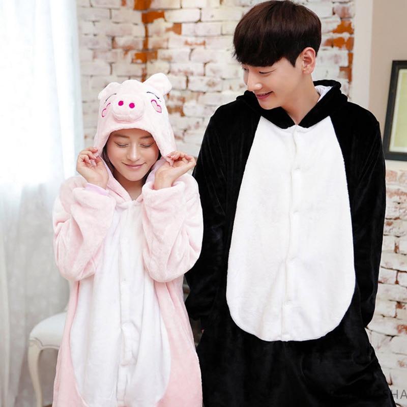 2017 New Fashion Women's Animal Pig Adult Pajamas Full Sleeve Hooded Microfiber Pajama Sets Animal  Robe Female