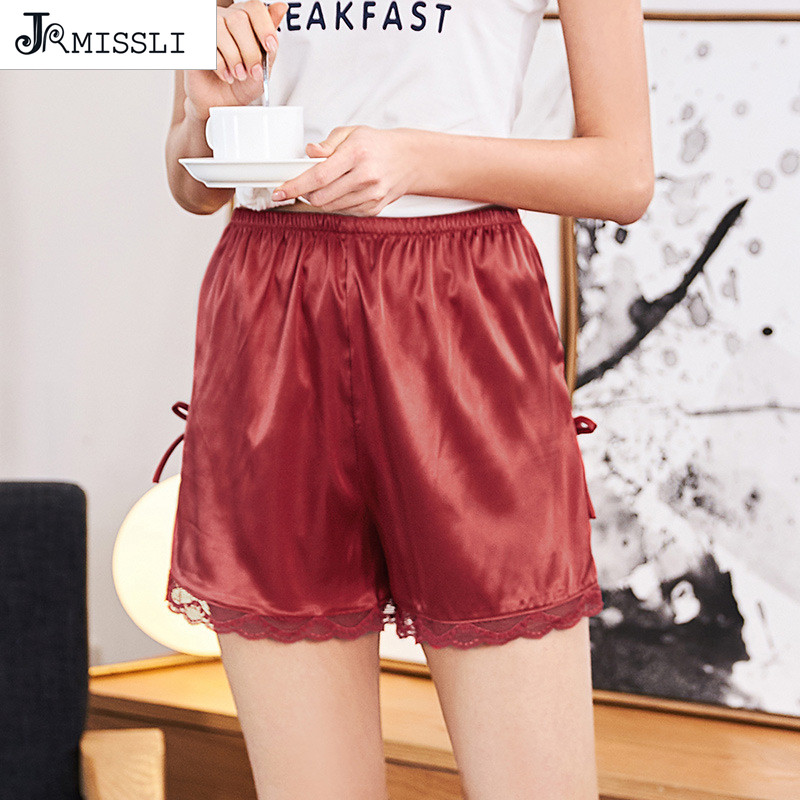 JRMISSLI Luxury Satin Silk Lady Sleep Bottom Shorts Hip Shorts Pumpkin Bloomers Casual Pajama Women Pijama Feminino