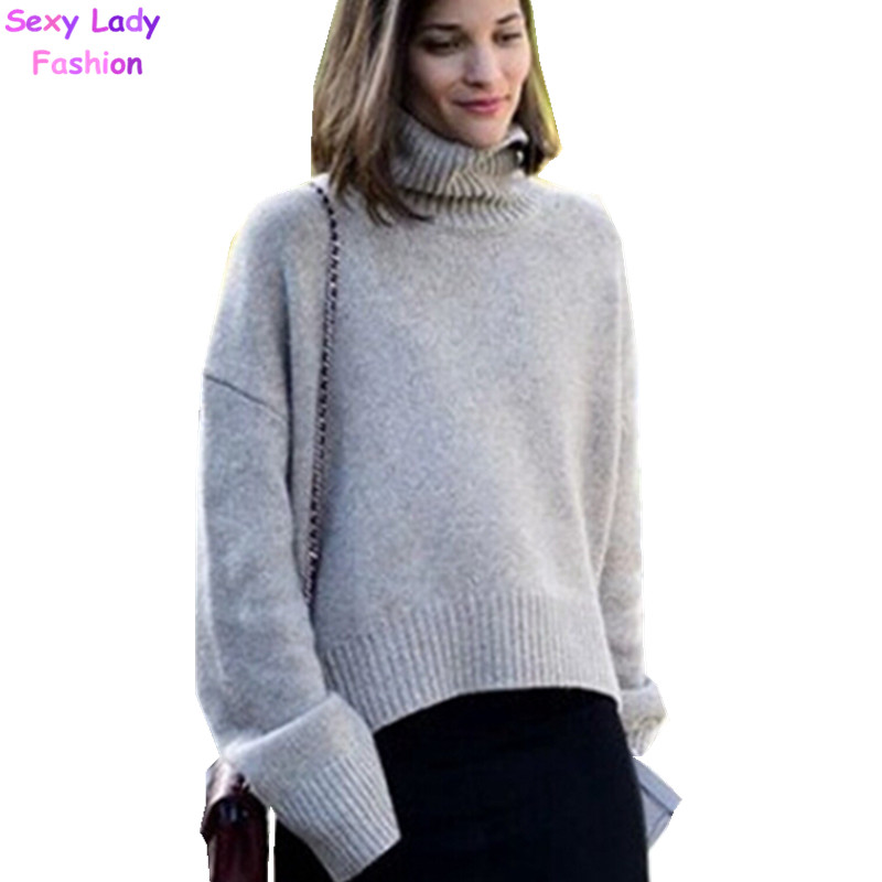 Loose Turtleneck Roll High Neck Knitted Pullovers Sweater British ...