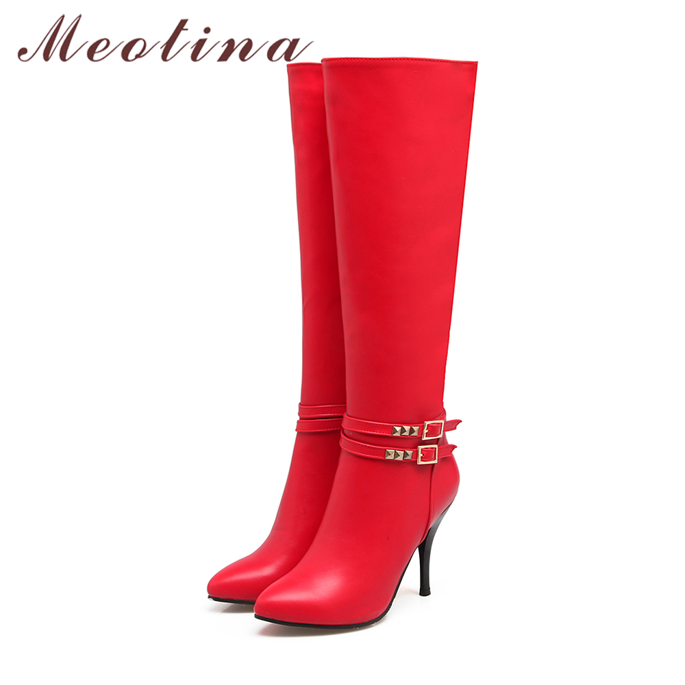 Meotina Women Winter Boots Buckle High Heel Knee High Boots Zipper Rivets Sexy Thin High Heels Party Shoes Red Big Size 42 Black