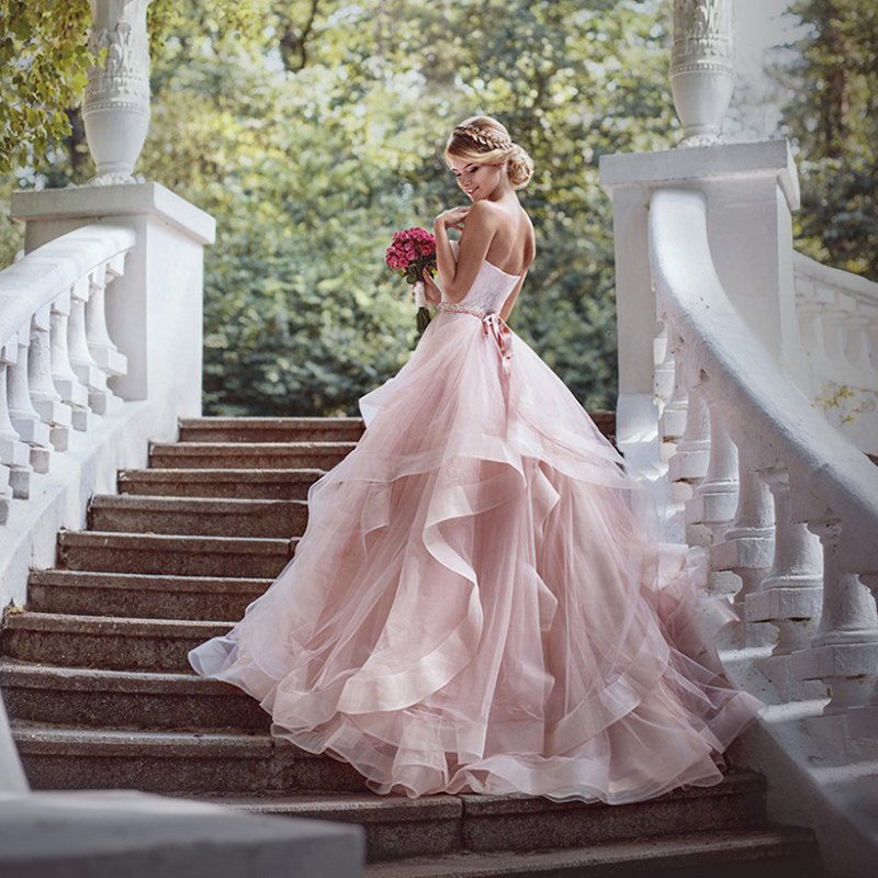 Verngo Sweetheart Blush Pink Wedding Dress Sleeveless Organza Bride Dress Luxury Bridal Ball Gowns Vestido De Novia in Wedding Dresses from Weddings Events