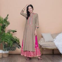 Woman Fashion Ethnic Styles Print Jacket Cotton India Dress Costume Lady Long Coffee Top