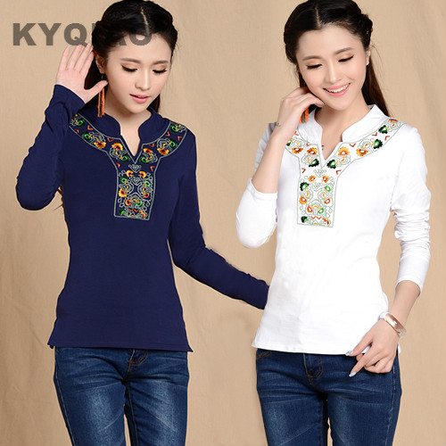 KYQIAO Autumn Spring Mexican Style Vintage Stand Collar Embroidery T Shirt Boho White Dark Blue Black Cotton Shirt Plus Size Top