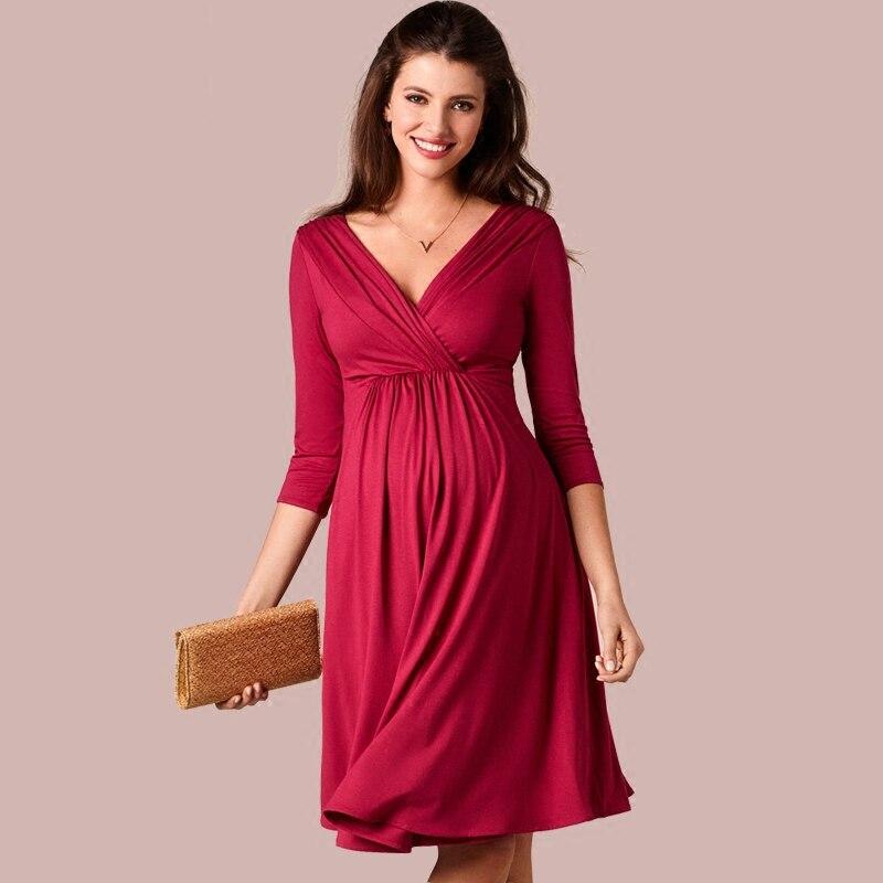 цена на Hot Brand European American Fashion Pregnant Womens Dress Long Sleeved V Neck New Summer Maternity Dresses For Pregnancy Clothes