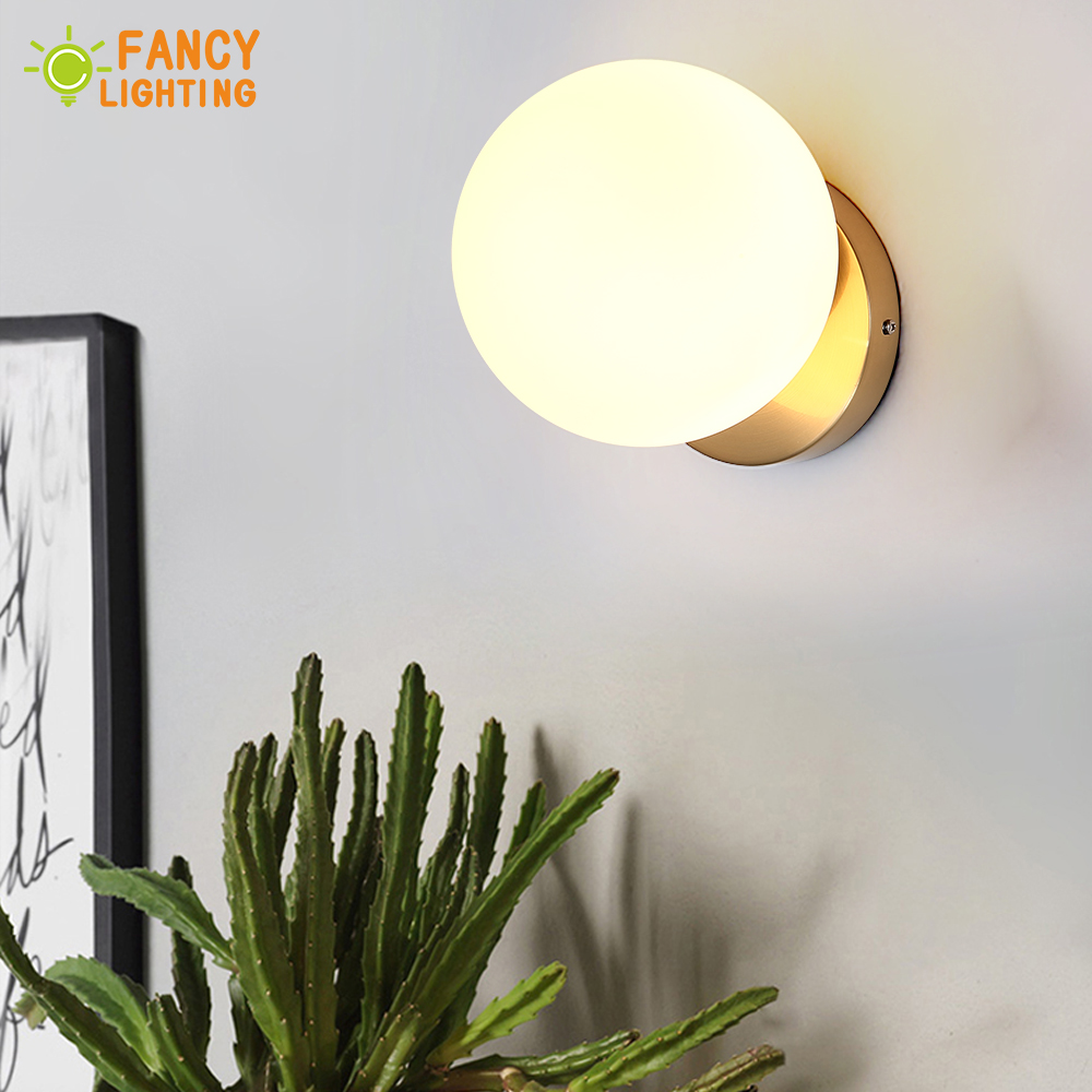Bulb For Free Modern Wall Lamp Frosted Glass Shade wandlamp for home bathroom bedroom living