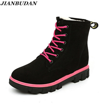 Women warm winter snow shoes casual slip rubber bottom Martin boots thick padded winter woman Non-slip warm cotton boots 2018
