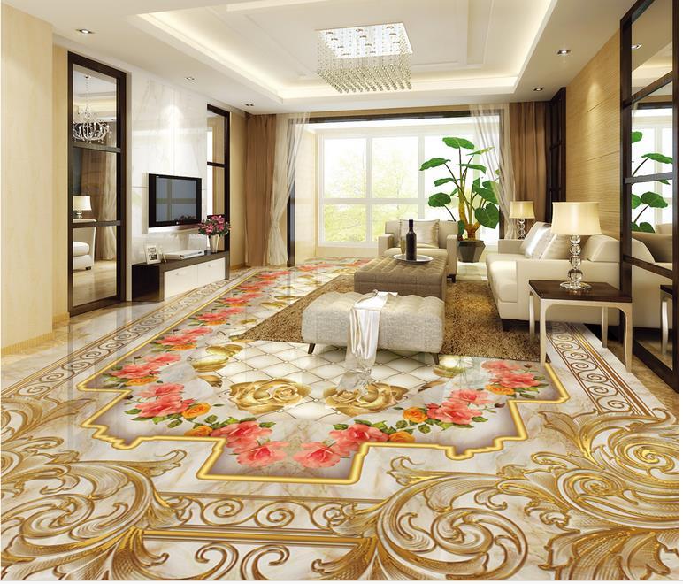 green 3d vinyl flooring custom 3d wallpaper Rose Marble wallpaper on the floor waterproof self adhesive floor wallpaper  сайдинг vinyl on угол внутренний 3050 мм кофе