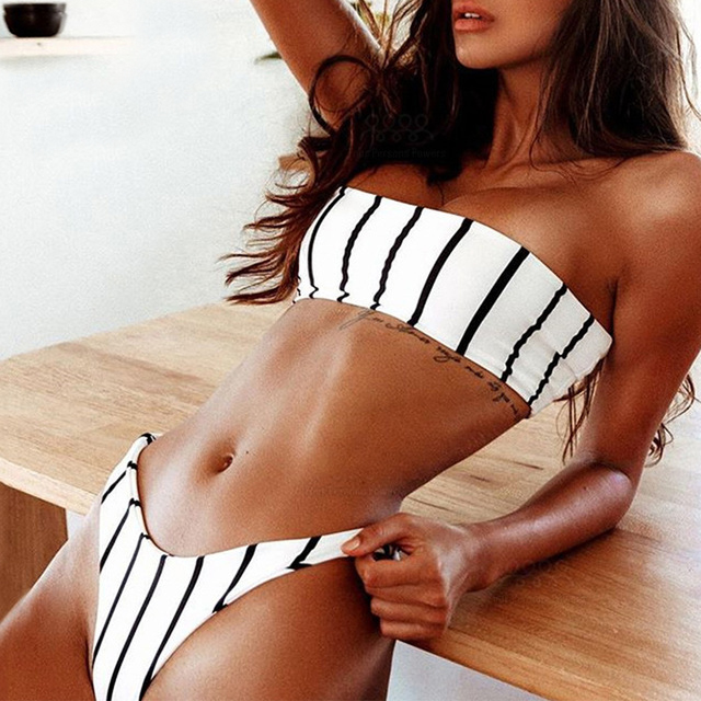 c386c12b88c Swimwear Women Striped Bandeau Bikini High Leg Bikini Push Up Sexy Strapless  Thong Bikiny Bathing Suit Beach bath clothes Biquni