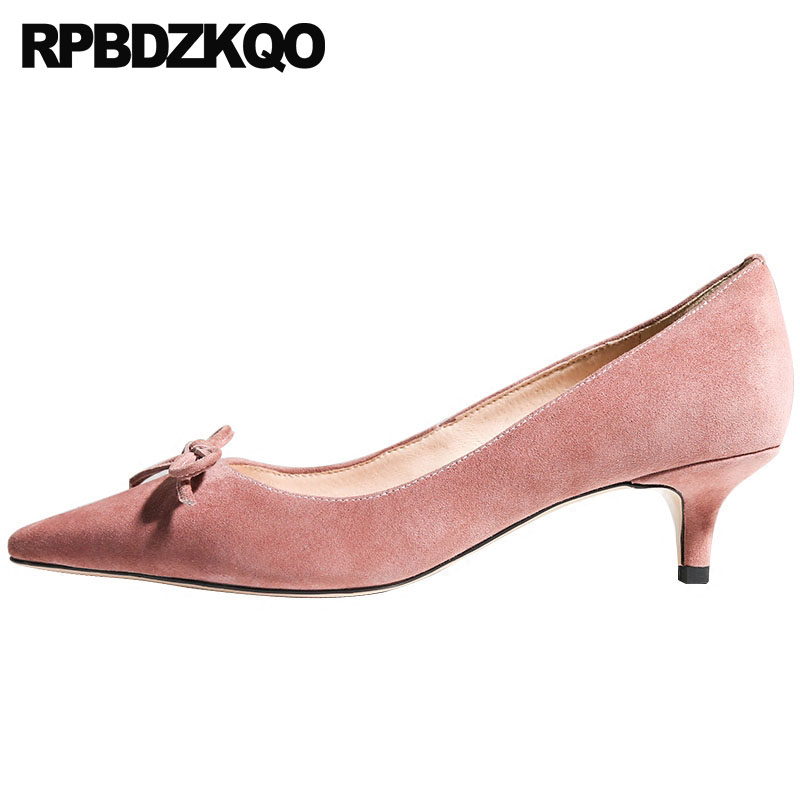 Size 33 Pointed Toe Thin Pumps Kawaii Genuine Leather 2018 High Heels Pink Shoes Women Medium 4 34 China Suede Kitten Cute Bow bow size 33 cute 2018 3 inch pumps korean medium heels pointed toe 4 34 thin kawaii sweet kitten nude blue suede shoes women