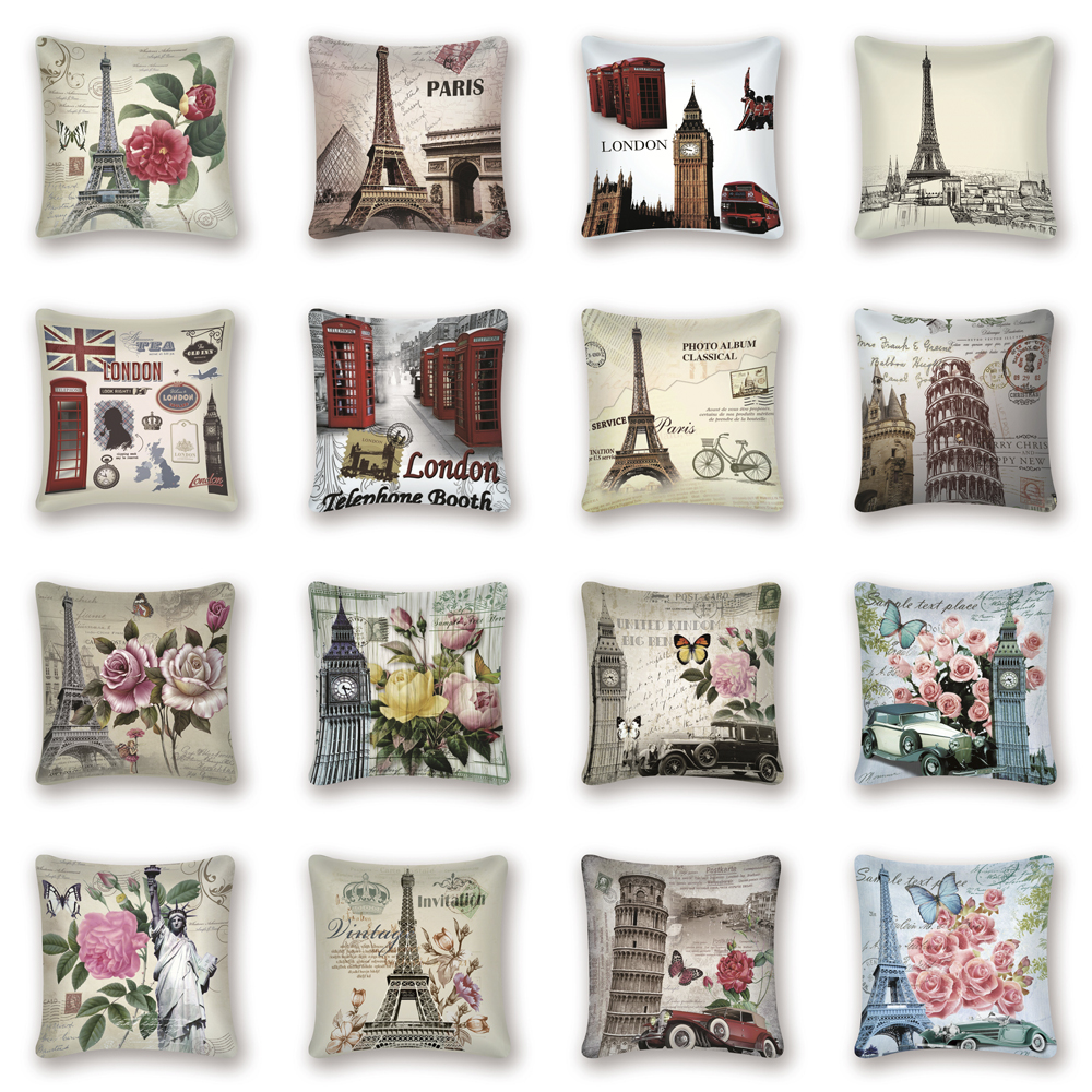 Paris Vintage Decorative Pillow Covers Flowers Tower London Big Ben Cushion Cover Sofa Home Car Farmhouse Decor Pillow Kissen