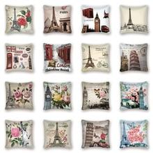 París Vintage Fundas de cojín decorativas torre de flores londres Big Ben funda de cojín sofá hogar coche decoración de granja almohada Kissen