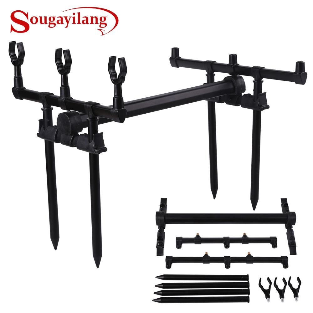 Sougayilang Adjustable Retractable Carp Fishing Rod Pod Stand Holder Fishing Pole Pod Stand Fishing Tackle Pesca