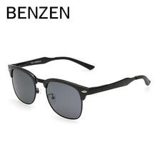 BENZEN Grain Projeto Dos Homens Óculos De Sol Polarizados Al-Mg HD Óculos de Condução Óculos De Sol Para Homens Oculos de sol Masculino com o Caso de 9016