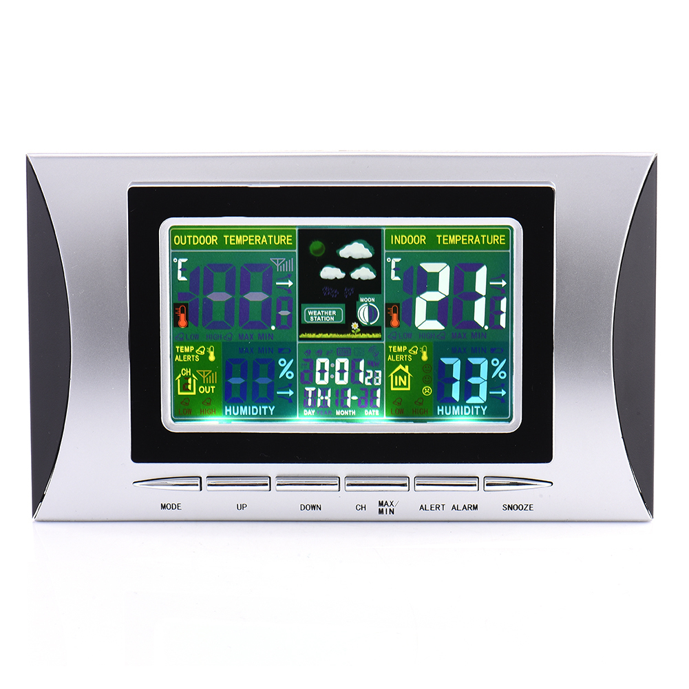 Home Wireless Weather Station Colorful LCD Digital In/Outdoor Temperature Humidity Snooze Alarm Clock Weather Forecast Meter