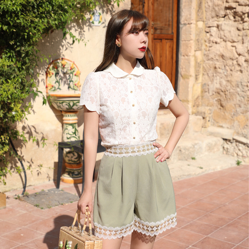 LYNETTE'S CHINOISERIE Summer Women Vintage Hollow Out Lace Shirts