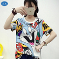 Sea-mao Cartoon Animal Print Female T Shirt Women Tops Tees Short Sleeve T-shirt Summer Loose Casual O-neck T Shirts for Women