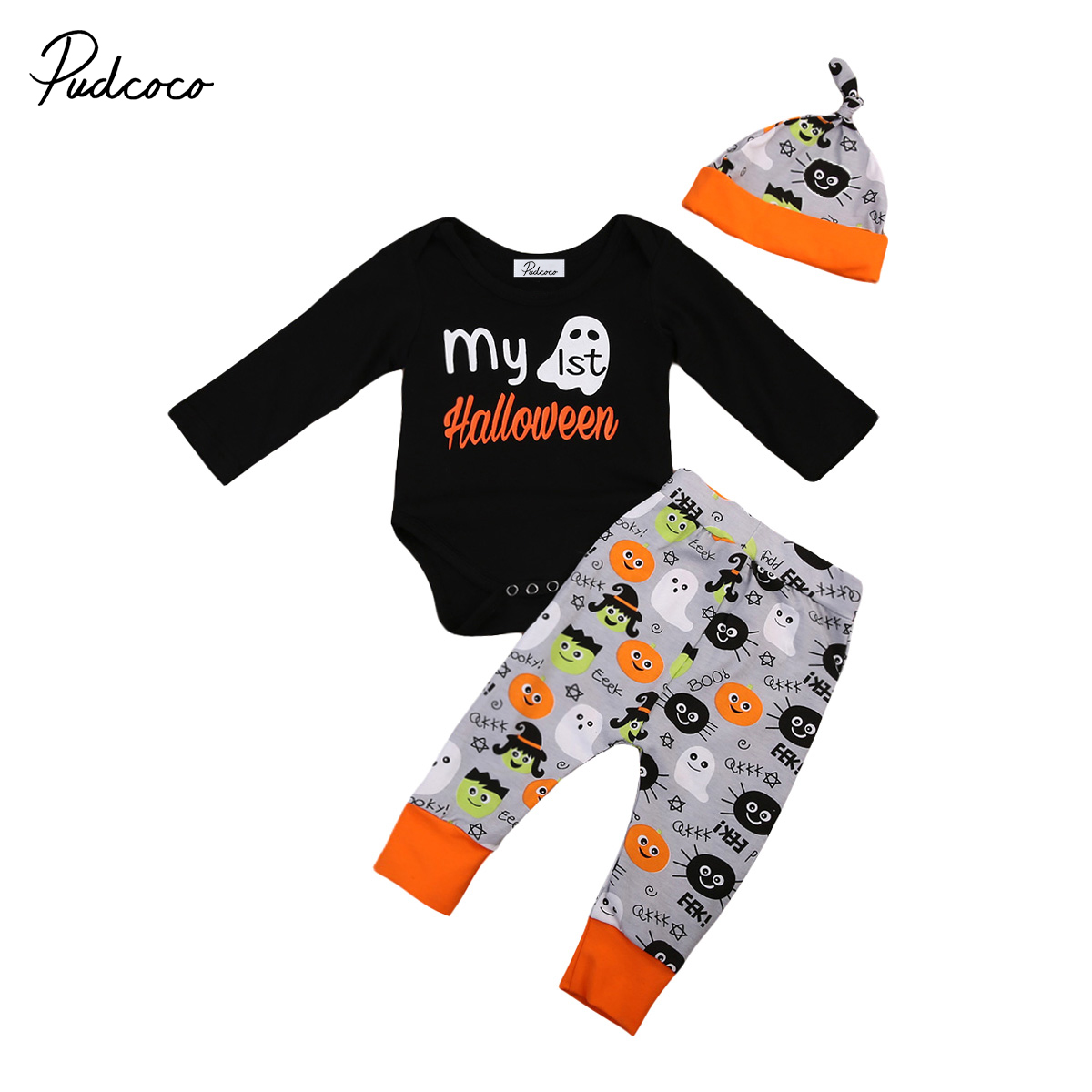 3pcs 2017 baby first halloween baby girl Boys clothes set autumn Newborn Baby Boy Girl romper+Pants+hat Outfits Sets baby gift купить недорого в Москве