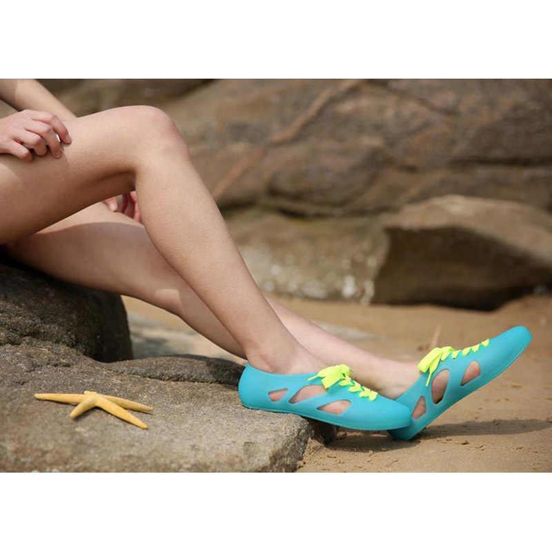 77de6525b ... Women Sandals 2017 Summer New Candy Color Beach Shoes Rainbow Croc Jelly  Shoes Woman Flat Sandalias ...