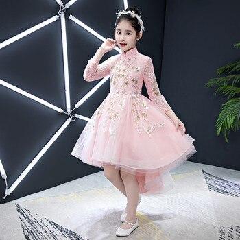 2019Spring New Kid Girls Elegant Chinese Style Embroidery Flowers Princess Lace Dress Children Cheongsam Princess Birthday Dress