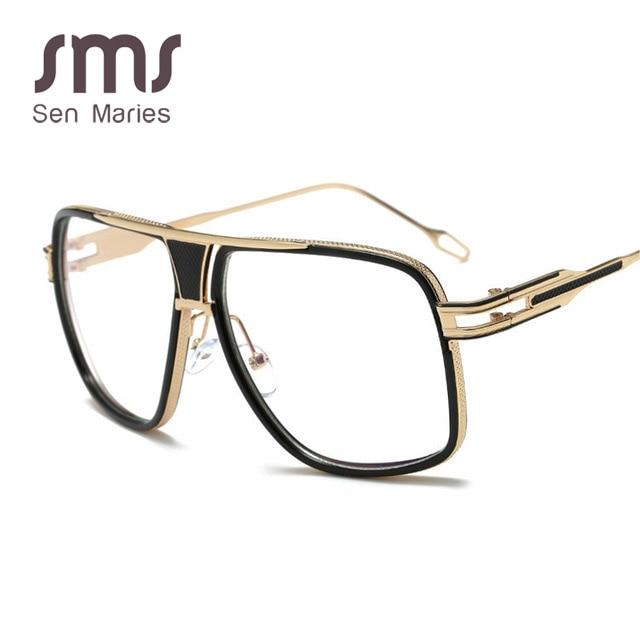 2017 Guvivi Männer Metall Gold Gläser Rahmen Marke Design Großen Quadratischen Rahmen Gläser Für Männer Optische Lunettes De Vortrag Gy-615