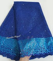 Gorgeous Royal Blue African Lace Elegant Shiny Mesh French Lace Sewing Tulle Fabric With Allover Sequins
