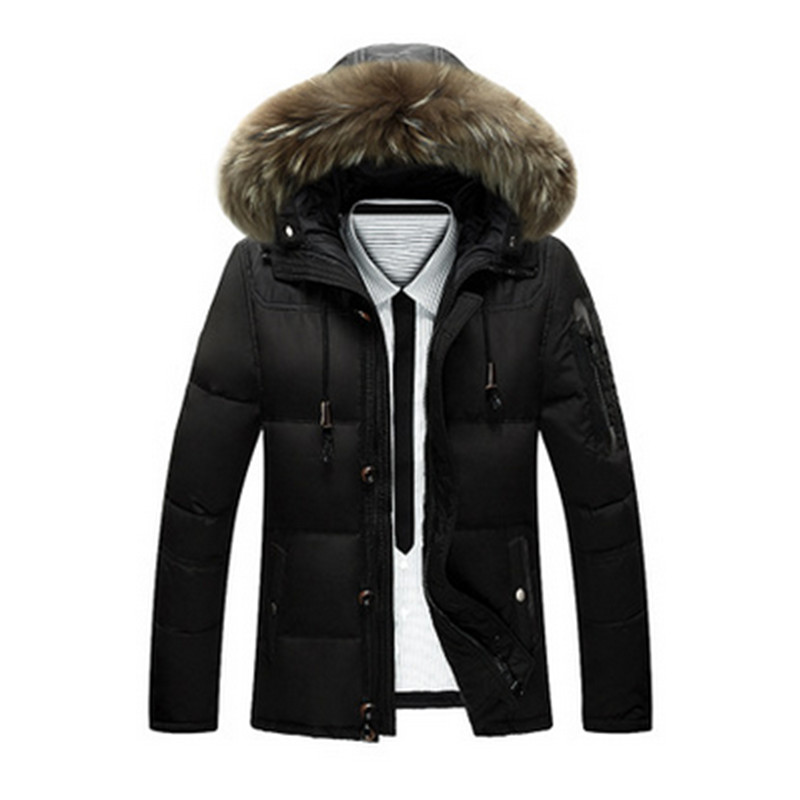 2017 New Winter Mens Down Jacket Warm White Duck Winter Coat Fur Collar Hooded Parka Padded Mens Jackets
