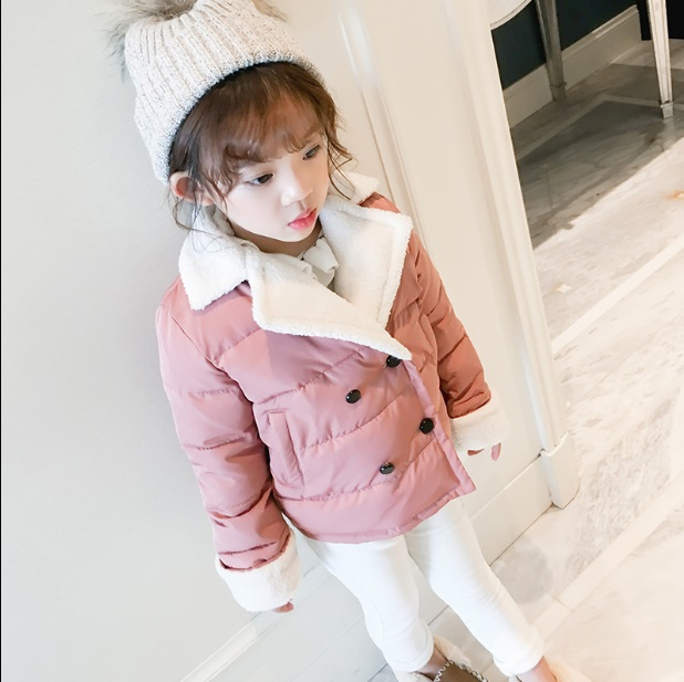Girls thicker coat coat 2017 autumn and winter big lambs wool large lapel cotton Korean version of the solid color jacketGirls thicker coat coat 2017 autumn and winter big lambs wool large lapel cotton Korean version of the solid color jacket