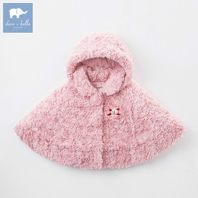 DB5614 dave bella autumn winter infant baby girls cloak jacket children lovely coat kids hooded outerwear baby children winter kids boys girls double side wear hoodie cloak baby clothes bebe poncho cape coat outerwear