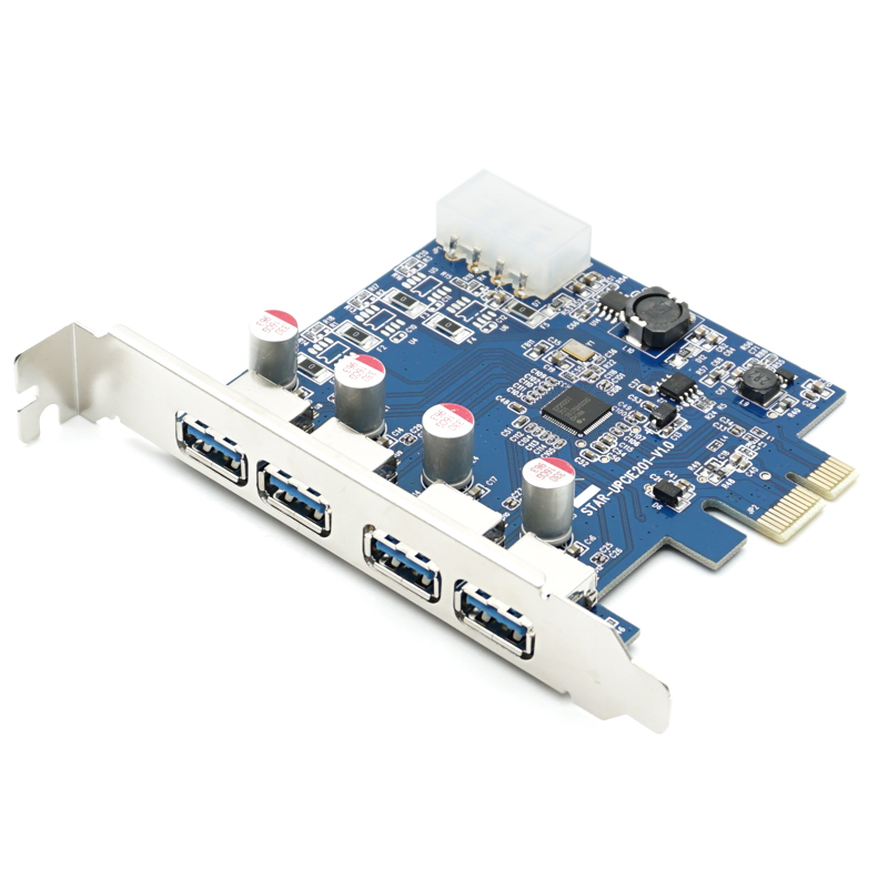 Free Shipping 4 Port USB 3.0 PCI Express Card PCIe USB 3.0 Host Controller 4 x USB3.0 with VLI Controler NED720201 5GBPS