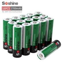 16 шт.! Soshine 2700 мАч 1.2 В AA Перезаряжаемые Батарея Ni-MH NiMH AA Батарея с 1000 цикла + Портативный Батарея коробка для хранения чехол