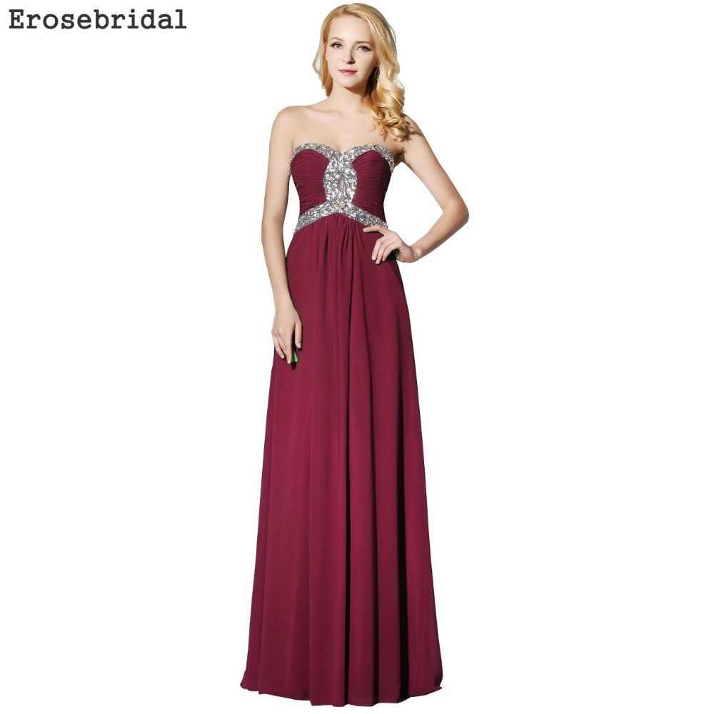 [Czyszczenie magazynu wyprzedaż] szyfonowa długa suknia 2019 prosta formalna damska odzież wieczorowa elegancka Sweetheart 48 godzin wysyłka