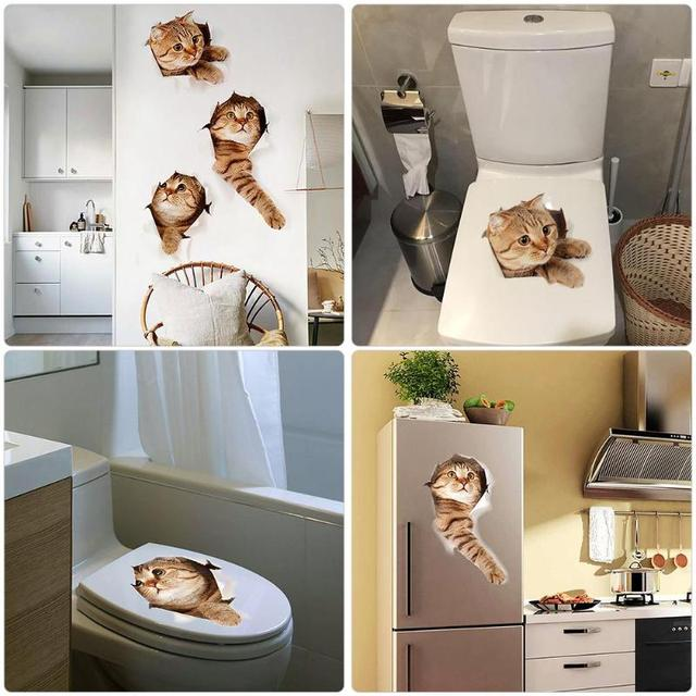 3D кошки наклейка на крышку в туалете Стикеры s отверстие просмотра яркие собак Ванная комната украшения дома животных виниловые наклейки художественный стикер Плакат