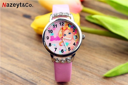 Fashionable And Lovely Children Cartoon Barbie Doll Watch With Diamond Leather Watch Girl Watch Gift Watch