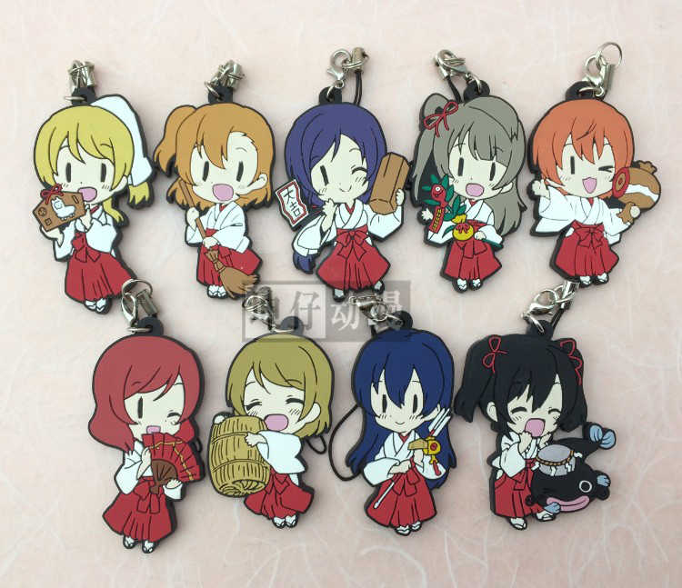 Kotori Nico Eli Rin Umi Maki Anime Love Live! Cinta Hidup! Miko Versi Gantungan Kunci Karet