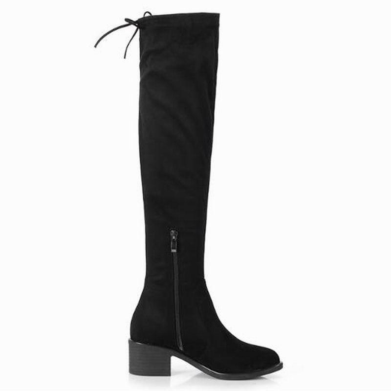 Automne Boot Flock Plate Chaussures Zipper Genou Sexy Talons Haute Mode Femmes Femelle Plus forme Bottes Hauts Noir Femme T8xf6w7