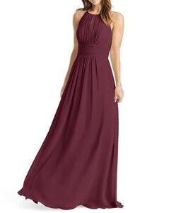Image 4 - Burgundy Bridesmaid Dresses Long  Chiffon Dress for Wedding Party 2020 Robe Demoiselle Dhonneur Wedding Guest Dress
